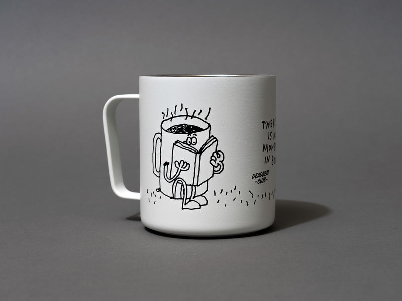 "Close up graphic coffee mug reading a book. Insulated coffee cups featuring wrap-around illustrations by artist Stefan Marx. A book drinking a cup of coffee and a coffee mug reading a book. ""There's no money in books."" ""Deadbeat Club Coffee"" ""Deadbeat Club"""