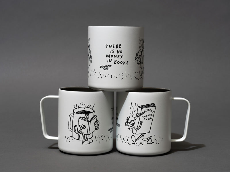 "Three cup pyramid. Insulated coffee cups featuring wrap-around illustrations by artist Stefan Marx. A book drinking a cup of coffee and a coffee mug reading a book. ""There's no money in books."" ""Deadbeat Club Coffee"" ""Deadbeat Club"""