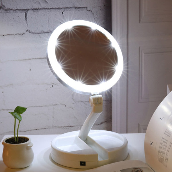 Vanity Mirror With Lights.Portable Led Lighted Folding Vanity Mirror