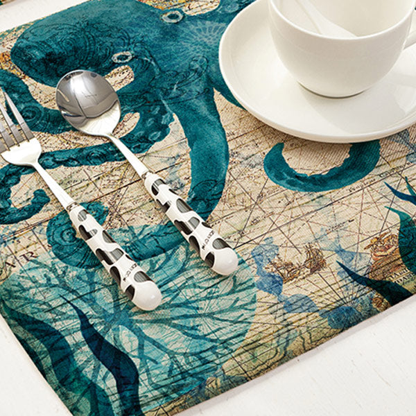 Ocean Kitchen Table Cotton Linen Mat Set