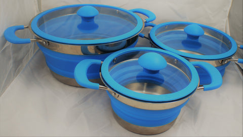 Collapsible Blue or Grey Pots 1ltr, 1.5L & 3Ltr
