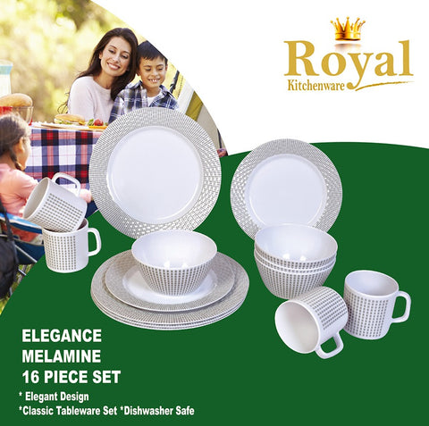 Dinner Set - Elegance Melamine 16 Piece