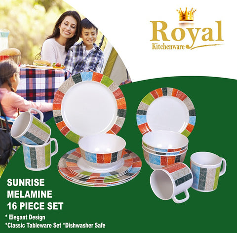 Dinner Set - Sunrise Melamine 16 Piece