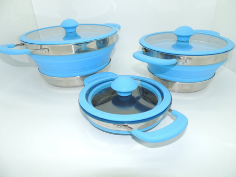 Collapsible Blue Non Stick Pots 1.5Ltr, 2.5Ltr & 4Ltr