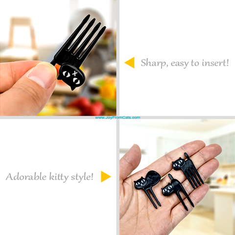 Black Cat Food Fork Set - www.JoyFromCats.com