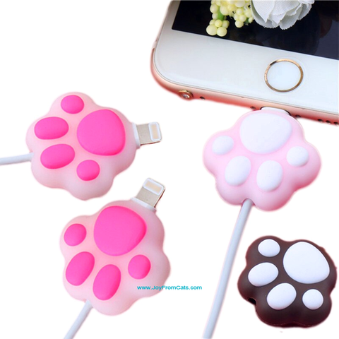 iPhone 11 USB Paw Print Cable/Cord Protector - www.JoyFromCats.com