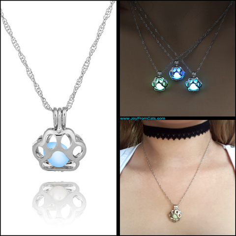 Luminous Paw Print Necklace - www.JoyFromCats.com