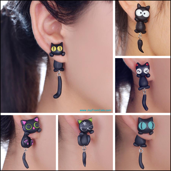 3D Cartoon Kitty Stud Earrings - www.JoyFromCats.com