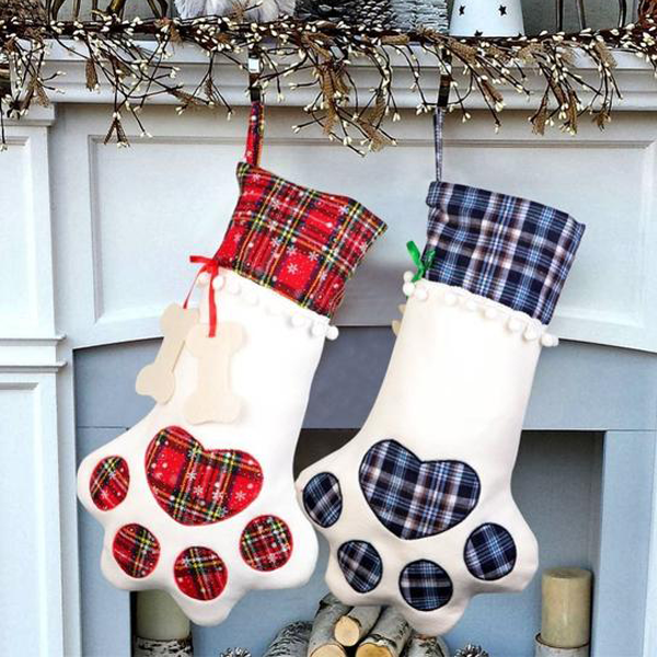 Paw Plaid Christmas Stocking - www.JoyFromCats.com
