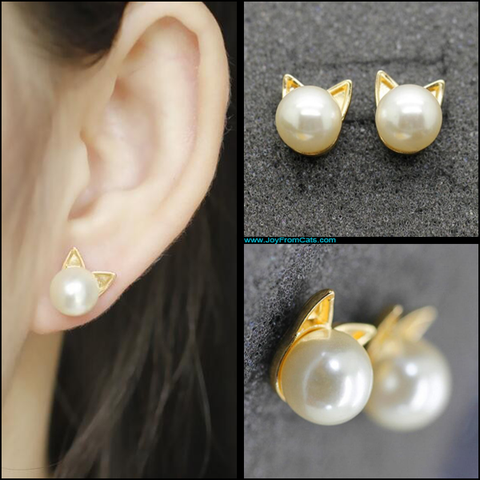 Kitty Head Stud Earrings - www.JoyFromCats.com