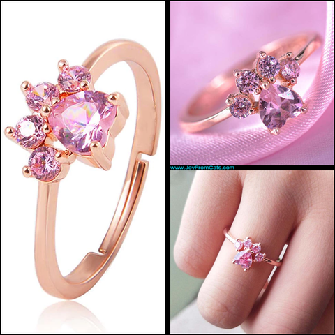 Rose Gold Paw Print Ring - www.JoyFromCats.com