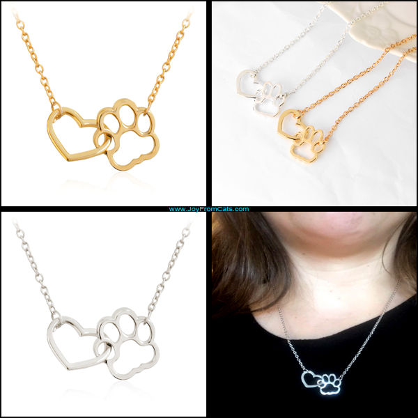 Heart & Paw Print Charm Necklace - www.JoyFromCats.com