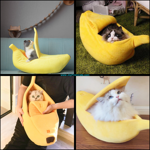 Comfy Cat Banana Bed - www.JoyFromCats.com