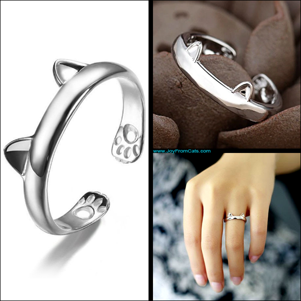 Silver Plated Open Paw Ring - www.JoyFromCats.com
