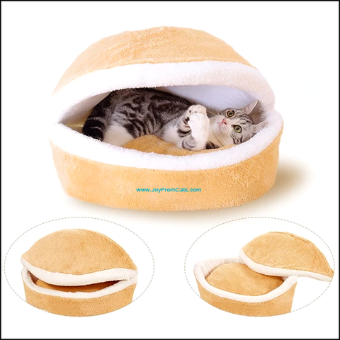 Comfy Cat Hamburger Bed - www.JoyFromCats.com