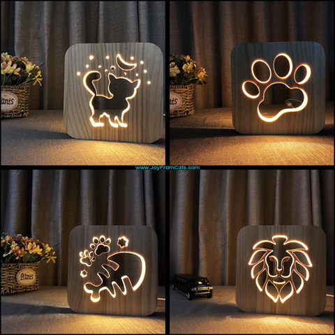 3D Wooden USB Powered Night Lights - www.JoyFromCats.com