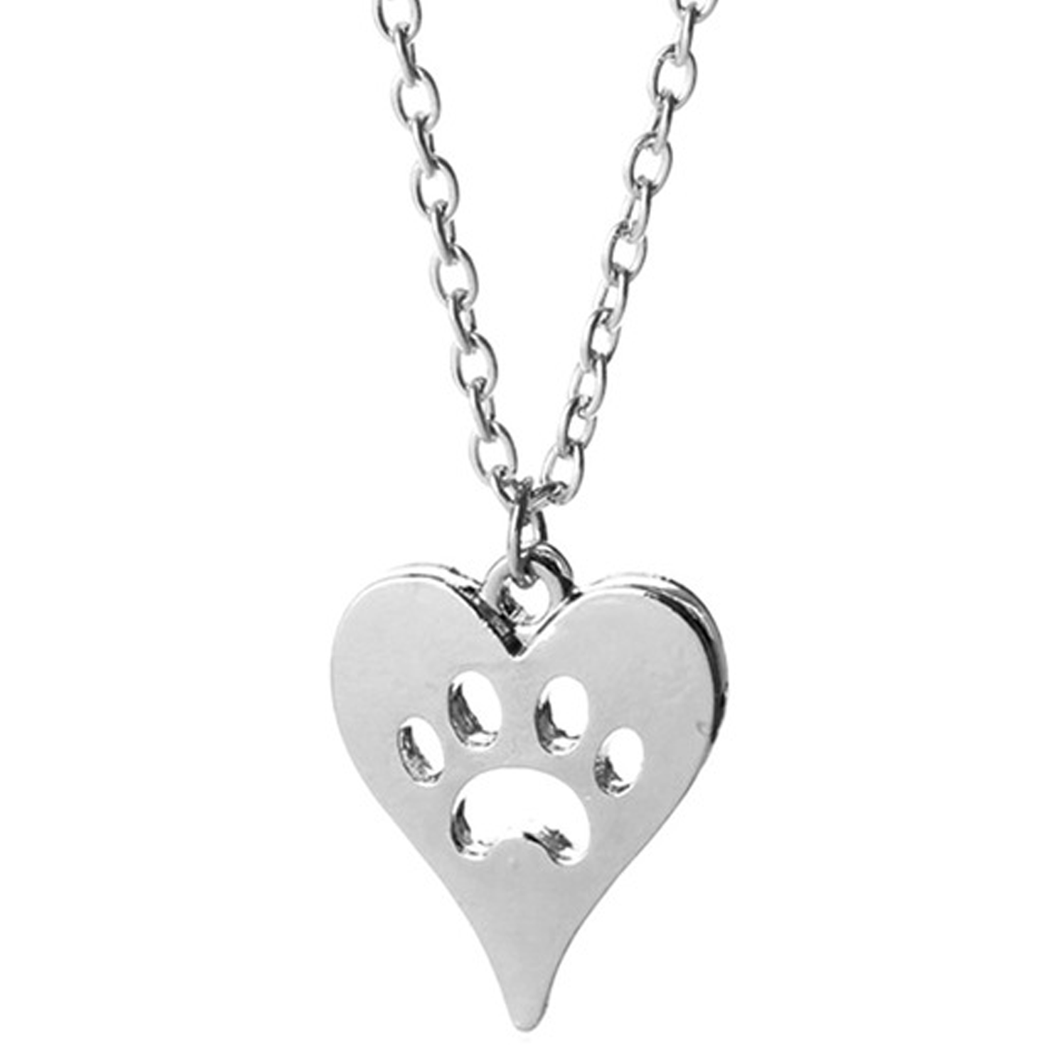 Paw Print Heart Necklace - www.JoyFromCats.com
