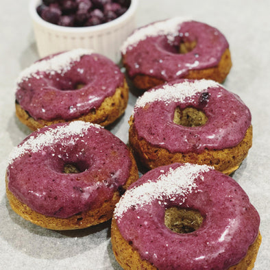 Baked Vegan Banana Blueberry Protein Donuts