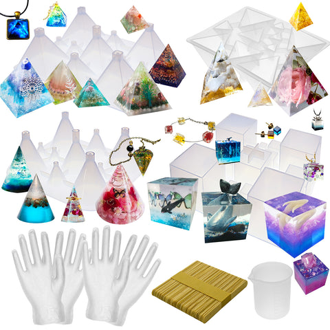 Pyramid Cone Cube Geometric Resin Casting Mold Set Jewelry Making Kit