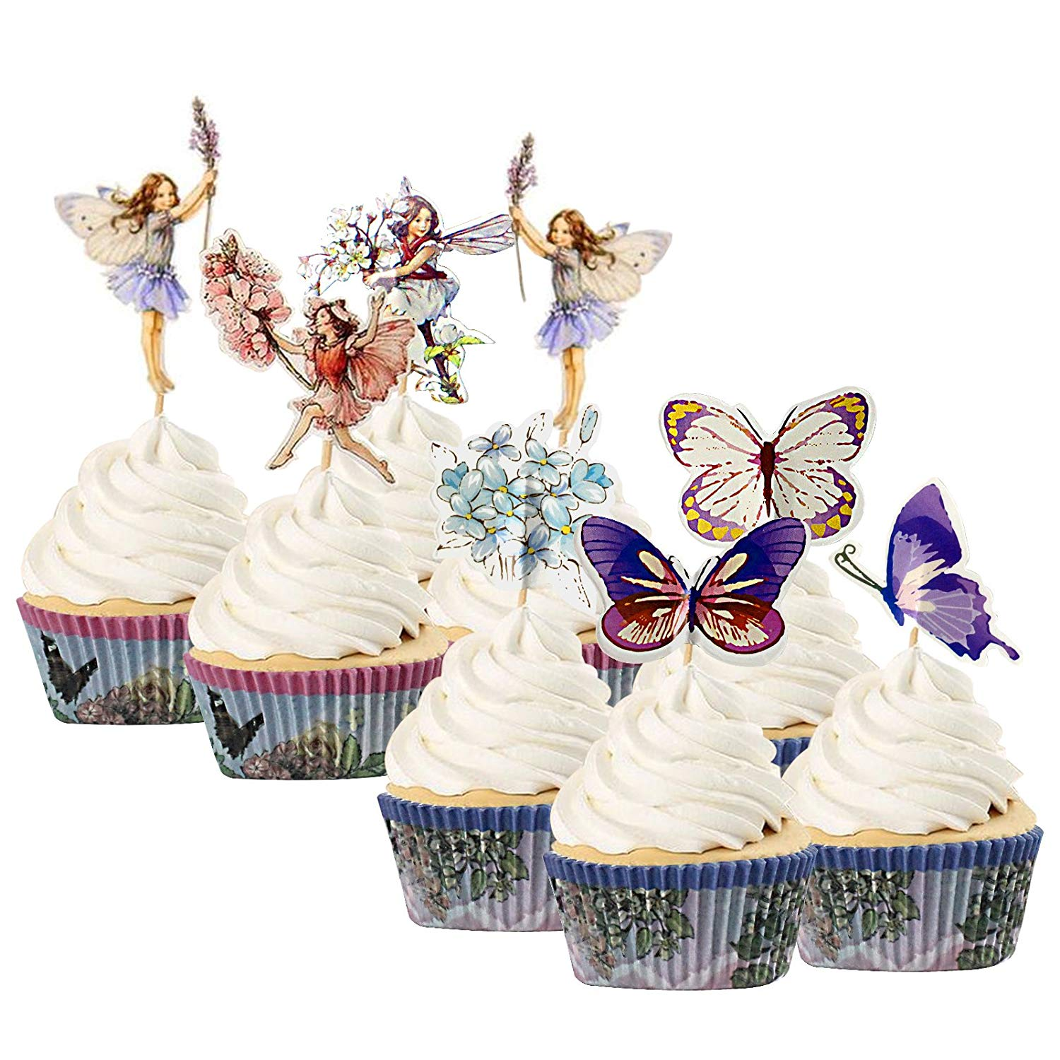 Enchanted Fairy Garden Cupcake Topper and Case Set 72-kit