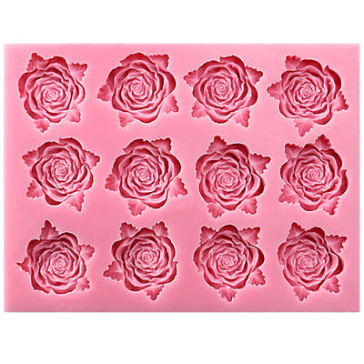 Rose with Leaf Silicone Mold 12-Cavity