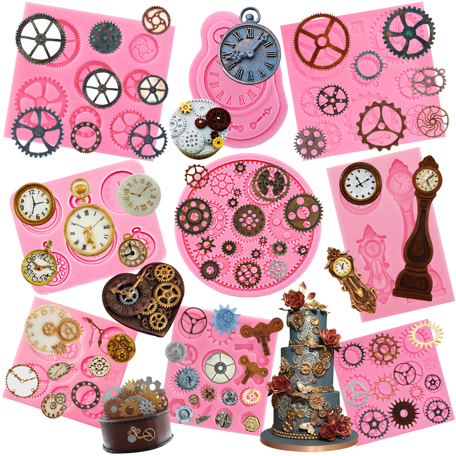 Steampunk Gear Fondant Silicone Molds Set 9-Pack
