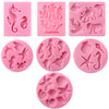 Sea Life Fondant Silicone Molds Mini Sea Creatures 7 Count
