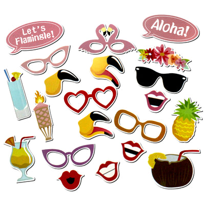 Lets Flamingle Tropical Luau Hawaiian Party Photo Booth Props 21 Count