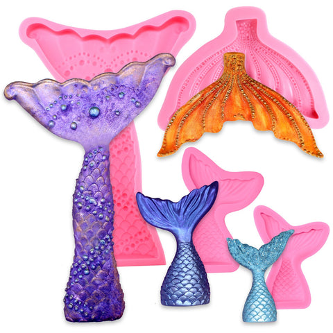 Sea Life Fondant Silicone Molds Mermaid Tail and Fin 4 Count