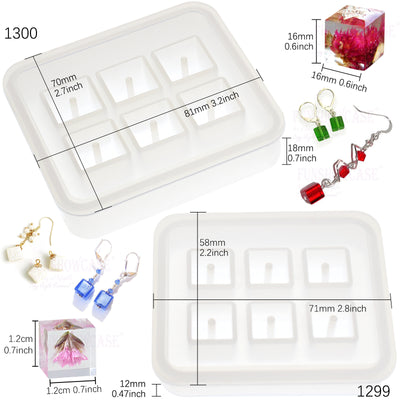 Cube Beads Resin Silicone Molds Set with Hole 12mm, 16mm