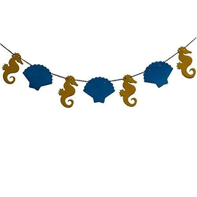 Nautical Sea Shell Seahorse Fabric Banner