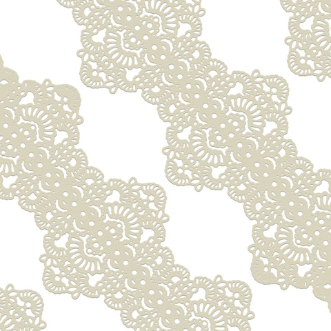 Edible Cake Lace Applique Ivory White Total 11.8 feet Width 3.5inch