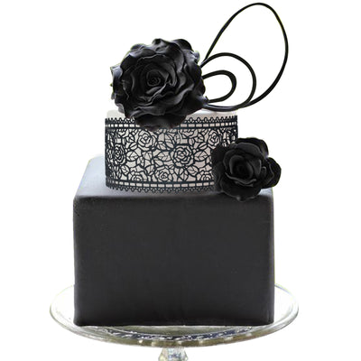 Edible Cake Lace Rose and Leaf Black Total 11.8 feet