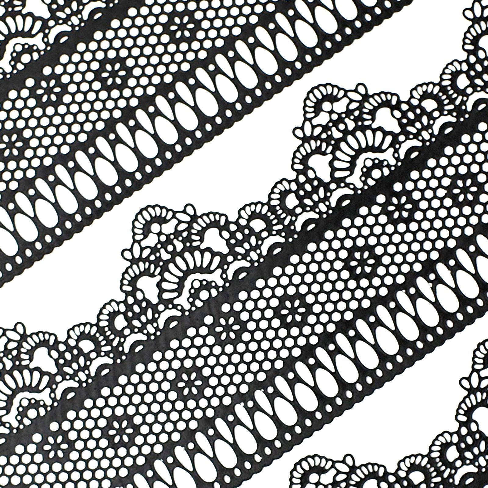 Edible Sugar Lace Lattice and Small Daisy Black