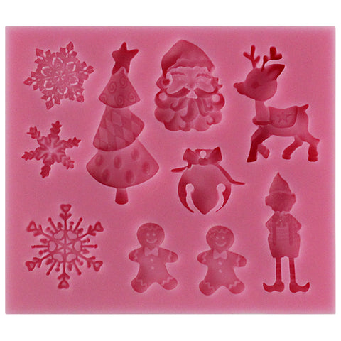 Christmas Assortment Fondant Silicone Mold 6-Cavity
