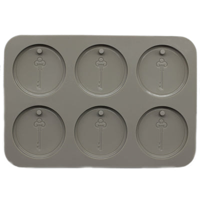 Vintage Key Engraved Disc Soap Making Silicone Mold with Hole