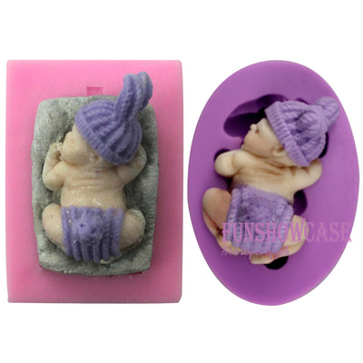 Sleeping Baby with Pillow Fluffy Hat Pants Silicone Molds 2-count