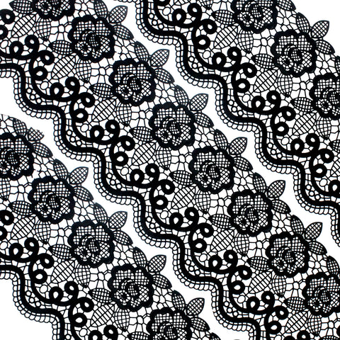 Edible Cake Lace Floral Medallion Scallop Black Total 11.8 feet