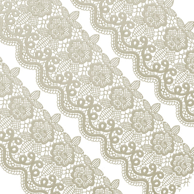 Edible Cake Lace Floral Medallion Scallop Ivory White Total 11.8 feet