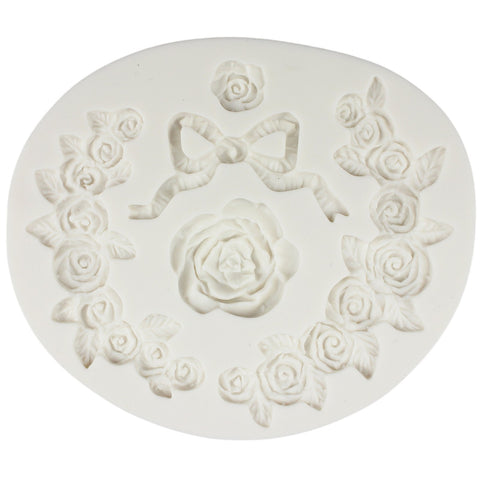 Swag Rose and Ribbon Bow Fondant Silicone Mold for Cake Border Decoration