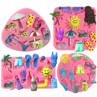 Summer Beach Holiday Silicone Molds 4-Count