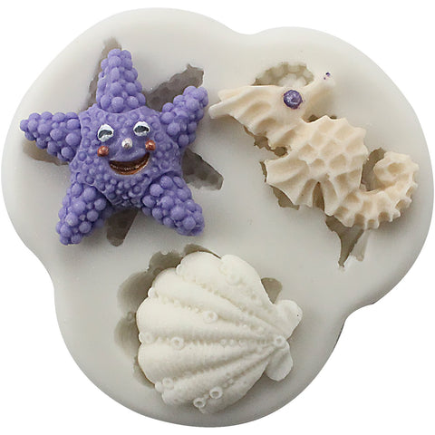 Sea Life Fondant Silicone Molds Sea Horse Seashell and Starfish 3 Count