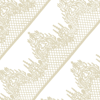 Edible Cake Lace Lattice Diamond Scallop Ivory White Total 11.8 feet