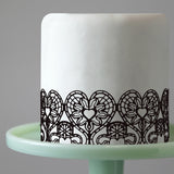 Edible Cake Lace Love Heart Black Total 11.8 feet