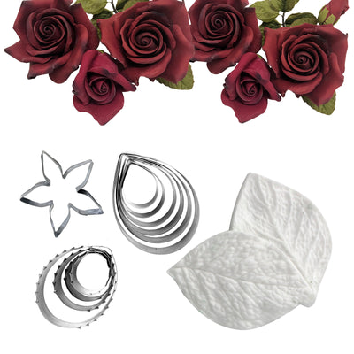 Rose Fondant Cutters Set 12-kit Calyx|Petal|Leaf Veiners