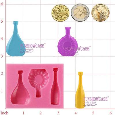 Mini Wine Bottles Fondant Silicone Mold