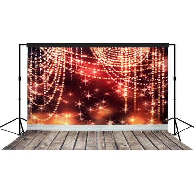 Star Sparkles Setting Backdrop Red, Large 10x10 feet