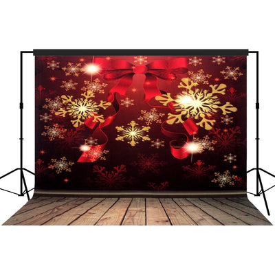 Christmas Snowflakes Red Stage Backdrop Large 10x10 feet