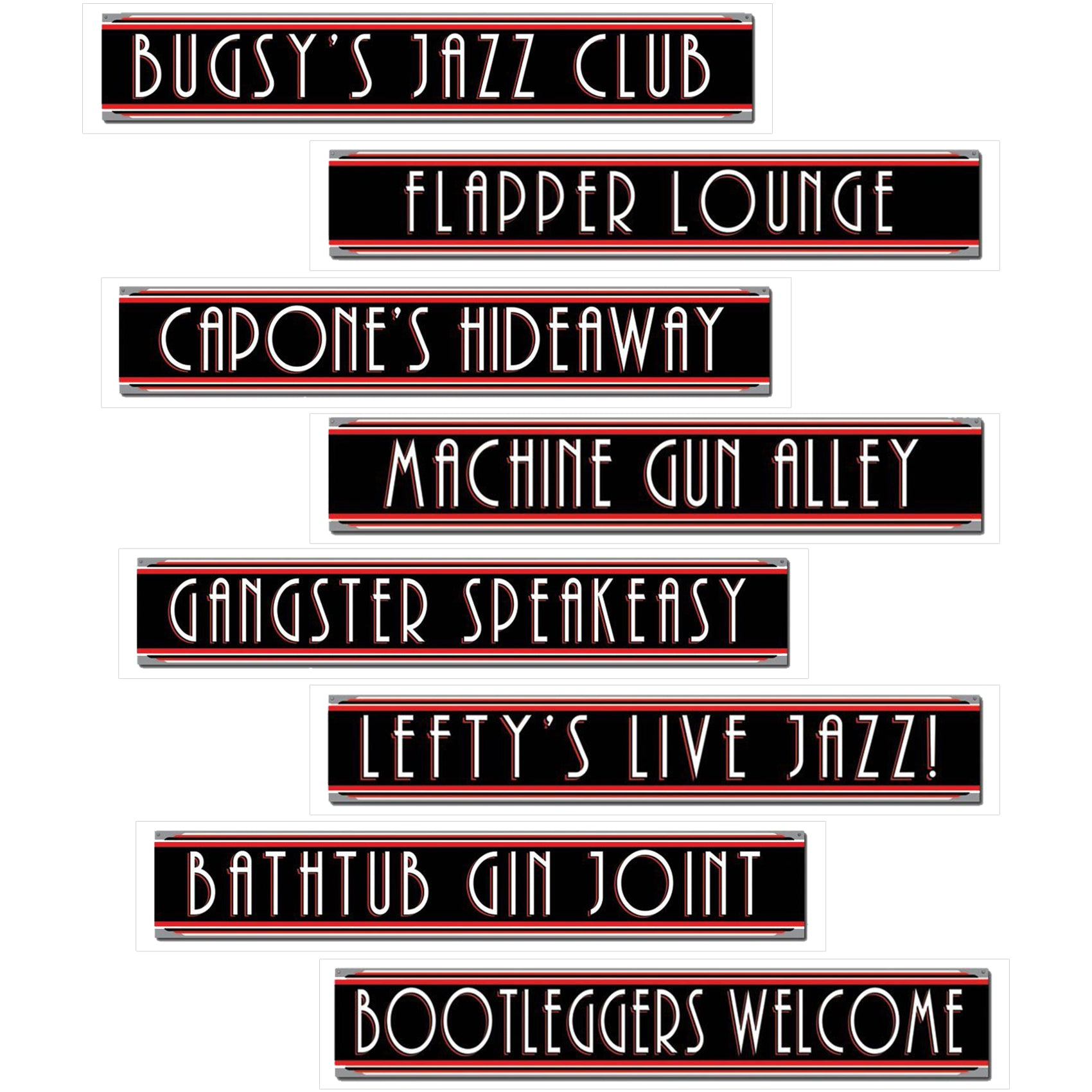 Roaring 20's Gangster & Flapper Girl Street Sign Cutouts 8-Pack