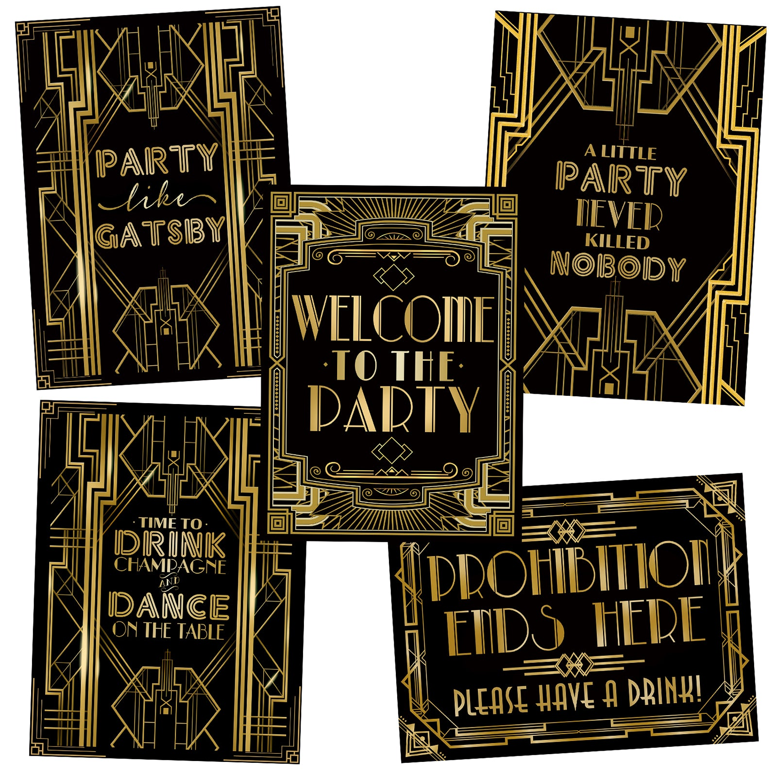 Roaring 20s Art Deco Posters Photo Booth Props Signs 16x12inch A3 5-Pack